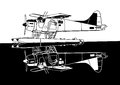Indiscrete style black white combo mirror propeller driven seaplane skimmers calm sea Royalty Free Stock Images