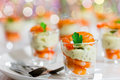 Individual Cocktail Shrimp glass Shots for Christmas dinner Royalty Free Stock Photo