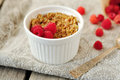 Individual raspberry banana crumble in a ramekin Royalty Free Stock Photos