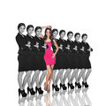 Individuality range of same woman and one different isolated on white background Royalty Free Stock Image
