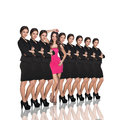 Individuality range of same woman and one different on white background Royalty Free Stock Photos
