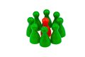 Individuality in a team be different red and green pawns quota for women the workplace Royalty Free Stock Photos