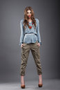 Individuality. Trendy Fashion Model in Pants Royalty Free Stock Photo