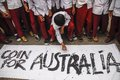 Indonesia australia worsened relation school children are attending coins for rally to repay australian humanitarian aid on aceh Stock Images