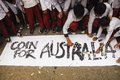 Indonesia australia worsened relation school children are attending coins for rally to repay australian humanitarian aid on aceh Royalty Free Stock Image