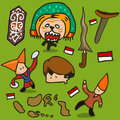 Indonesia culture set hand drawn vector illustration Stock Image