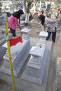 Indonesia demand public welfare cemetary cleaning workers of solo java economic growth and development are making the citizens Stock Image