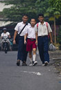 Indonesia education for handicapped blind students are making their way to school in solo java though it is clearly stated in the Stock Photos