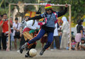 Indonesia happiness index women play soccer in funny costumes in solo java scored percent on a scale of on the national statistic Stock Photo