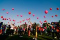 Indonesia health cervical cancer campaign hundreds of women releasing pink balloons as a symbol of freedom from on the event of Stock Image
