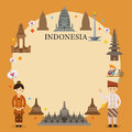 Indonesia Landmarks, People in Traditional Clothing, Frame