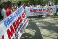 Indonesia law of freedom of speech a protest held by activist group in solo java despite government controls on opinion and Stock Photo