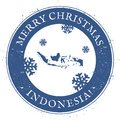Indonesia map. Vintage Merry Christmas Indonesia.