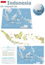 Indonesia maps with markers set of the political and symbols for infographic Stock Images