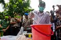 Indonesia narcotics extermination police officers are destroying consficated illegal drugs and alcohols in boyolali data from the Stock Photo