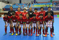 Indonesia national futsal team players incheon july before bronze medal match against thailand in an th asian indoor and martial Royalty Free Stock Image