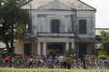 Indonesia southeast asia tourism budget a bicycle tour through historic section of the town of solo java and its asian counterpart Stock Photo