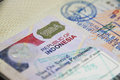Indonesia  Tourist Visa on Passport Royalty Free Stock Photo