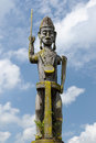Indonesia traditional dayak tribal culture borneo totem in front of house long house east kalimantan Stock Image