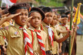 Indonesian boy scouts saluting national flag in scout ceremony at west lampung sumatra Stock Photography