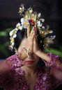 Indonesian bride prays Royalty Free Stock Photos