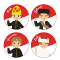 Indonesian Children in Traditional Dress Cartoon Vector Royalty Free Stock Photo