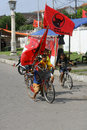 Indonesian democracy struggle party campaign supporters waving flags of during the in surakarta indonesia Stock Photos
