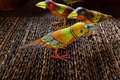 Indonesian ethnic art - painted wooden birds Stock Image