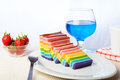 Indonesian food rainbow layer lapis rainbow is very sticky and very sweet its good for breakfast in the morning or as snack Stock Images