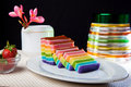 Indonesian food rainbow layer lapis rainbow is very sticky and very sweet its good for breakfast in the morning or as snack Stock Image