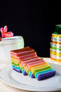 Indonesian food rainbow layer lapis rainbow is very sticky and very sweet its good for breakfast in the morning or as snack Royalty Free Stock Image