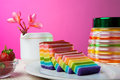 Indonesian food rainbow layer lapis rainbow is very sticky and very sweet its good for breakfast in the morning or as snack Royalty Free Stock Photos