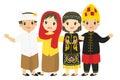 Indonesian Kids Wearing Traditional Dress Cartoon Vector Royalty Free Stock Photo