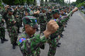Indonesian military power elite force cadets of air force at adi soemarmo airbase in solo java indonesia spending in the Royalty Free Stock Image