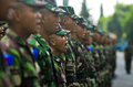 Indonesian military power elite force cadets of air force at adi soemarmo airbase in solo java indonesia spending in the Royalty Free Stock Photos