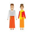 Indonesian national dress illustration of costume on white background Stock Photos