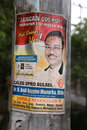 Indonesian political poster for election a campaign sticker a candidate in the parliamentary elections is displayed in makassar Stock Image