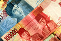 Indonesian Rupiah Close up. Royalty Free Stock Photos