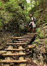 Tourist on wooden ladders in Slovak Paradise