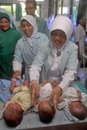 Indonesian triplets baby a babies just a day after they were born in a hospital in solo java indonesia Stock Image