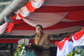 Indonesian vice president boediono attend the national sports day surakarta central java indonesia Royalty Free Stock Image