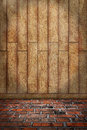 Indoor background brown wood wall red brick floor with colored and stone wooden plank Stock Photos