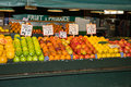 Indoor fruit and produce stand at a public market Stock Photography