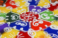 Indoor hindu rangoli pattern Royalty Free Stock Photography