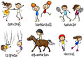 Indoor and outdoor activities illustration of the of on a white background Royalty Free Stock Images