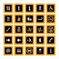Indoor pictogram set orange-white on black Royalty Free Stock Photography