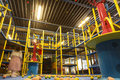 Indoor playground arena for kids with ball guns bumpers punching cylinder slide bridge balls Stock Photography