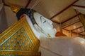 Indoor reclining whitw Buddha image Royalty Free Stock Photo