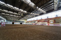 Indoor riding hall at equestrian center bitsa moscow jun june moscow russia arena size x m with a sandy surface Stock Photos