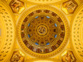 Indoor view of colorful picturesque dome ceiling in Saint Stephen`s Basilica, Budapest, Hungary Royalty Free Stock Photo